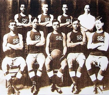 The all-black 10th Cavalry 'Buffalo Soldiers' Five basketball team, circa 1911