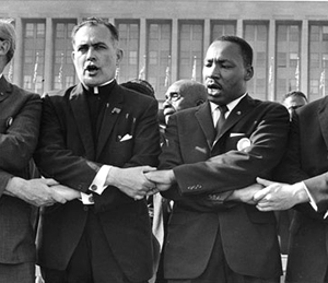 Father Theodore Hesburgh with Dr. Martin Luther King, Jr., 1964