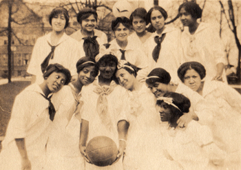 An unidentified African American women's basketball team