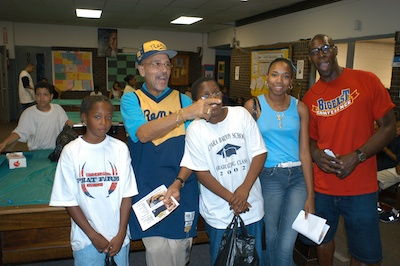 John Isaacs and some friends at the Madison Avenue Boys and Girls Club in the Bronx, August 2003.