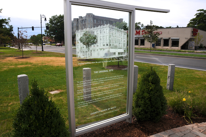Glass Commemorative Panel, Mason Square Basketball Memorial