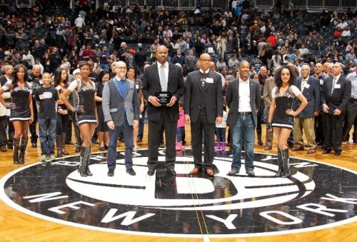Descendants of Brooklyn's Black Fives Era pioneers being introduced at Barclays Center