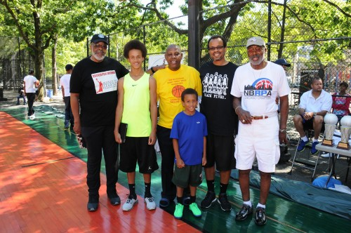 With NBA veterans at Rucker Park