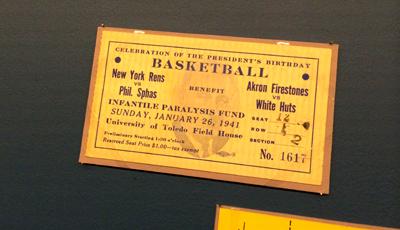 New York Rens, Infantile Paralysis Fund, fundraiser game ticket, 1941