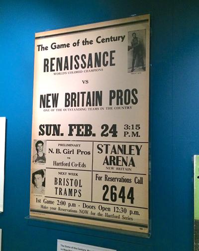 New York Renaissance vs New Britain Pros placard, 1946