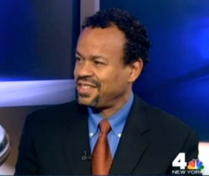 "Claude Johnson on NBC News 4 New York's ""Positively Black"" segment with host Tracie Strahan."