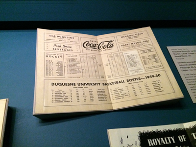 Souvenir scorecard for 1949-50 Duquesne University basketball game