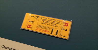 Unused basketball game ticket, 1941