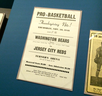 Handbill promoting a professional basketball game, Washington Bears vs Jersey City Reds, November 28, 1946 | 1946