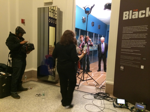 """On the """"set"""" at the New-York Historical Society."""