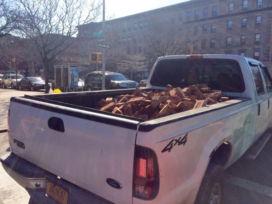 Pickup truck laden with vintage Renaissance Ballroom bricks