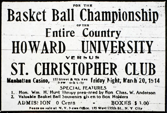 1914 game advertisement, St. Christopher Club vs Howard University