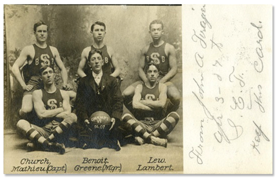 "Harry ""Bucky"" Lew (back row, far right) with the Springfield Athletic Club basketball team, 1907. (The Black Fives Foundation Archives)"