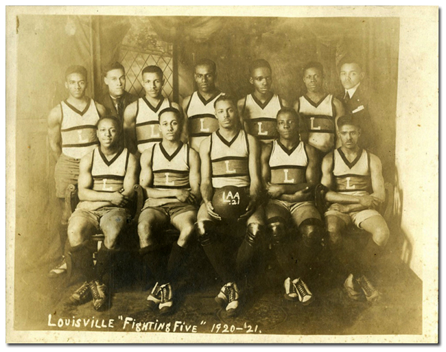 """Louisville """"Fightin' Five"""" basketball team, ca. 1920."""