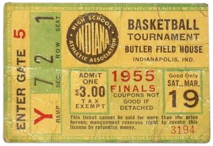 Ticket stub from the 1955 Indiana State High School Basketball Championship