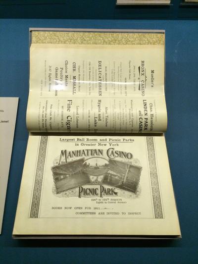 1910 advertisement for the Manhattan Casino from a souvenir program of the New York Schuetzen-Bund (Rifle Club) No. 1 Silver Jubilee.